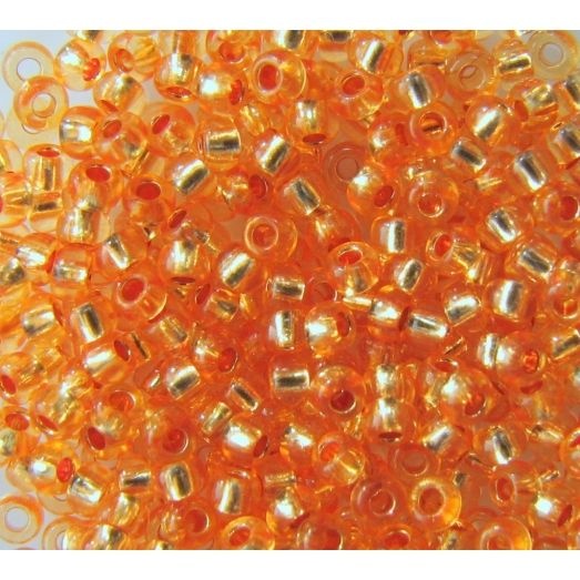 08289 Бисер прозрачный, оранжевый, серебряная серединка Бисер Preciosa