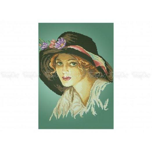 40-322 (30*40) Дама в шляпе. Схема для вышивки бисером Бисерок