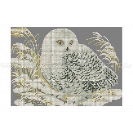70-315 (30*40) Белая сова. Схема для вышивки бисером Бисерок