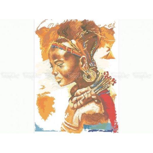 40-212 (40*60) Африканская красавица. Схема для вышивки бисером Бисерок