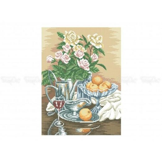 30-319 (30*40) Розы и мандарины. Схема для вышивки бисером Бисерок