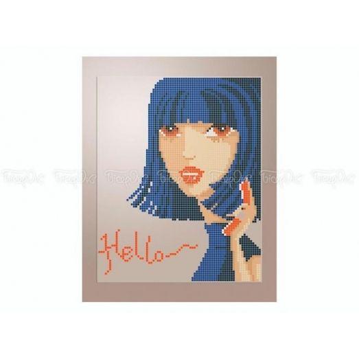 40-411 (20*25) Девушка в синем. Схема для вышивки бисером Бисерок