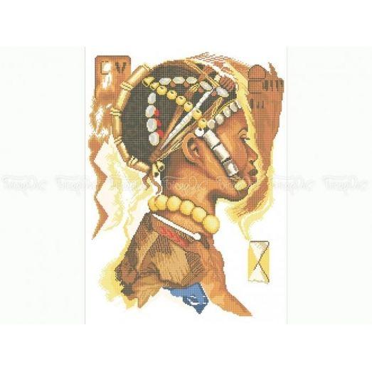40-211 (40*60) Африканская девушка. Схема для вышивки бисером Бисерок