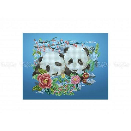 50-316 (30*40) Цветочные панды. Схема для вышивки бисером Бисерок