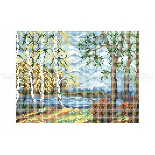 10-414 (20*25) Осенние березки. Схема для вышивки бисером Бисерок