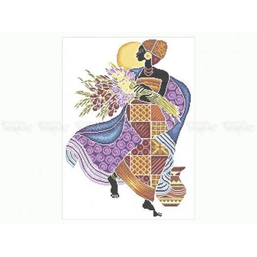 40-208 (40*60) Африканка с цветами. Схема для вышивки бисером Бисерок