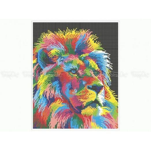 50-343 (30*40) Радужный лев. Схема для вышивки бисером Бисерок