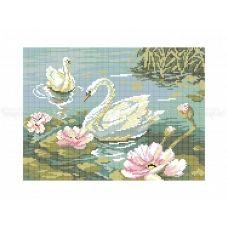 70-314 (30*40) Лебеди. Схема для вышивки бисером Бисерок
