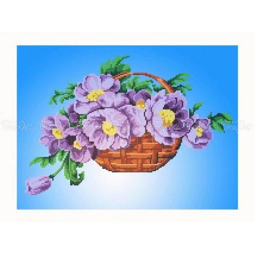 30-353 (30*40) Цветы в корзине. Схема для вышивки бисером Бисерок