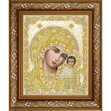 ЖС-4004 Пресвятая Богородица Казанская в жемчуге (золото). Схема для вышивки бисером Благовест