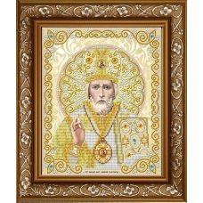 ЖС-4006 Святой Николай в жемчуге (золото). Схема для вышивки бисером Благовест