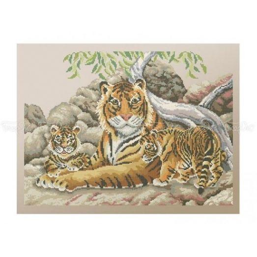 50-215 (40*60) Тигриное семейство. Схема для вышивки бисером Бисерок