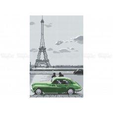 10-379 (30*40) Зеленый автомобиль.Схема для вышивки бисером  Бисерок