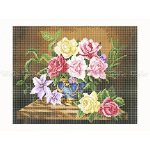 30-349 (30*40) Розы. Схема для вышивки бисером Бисерок
