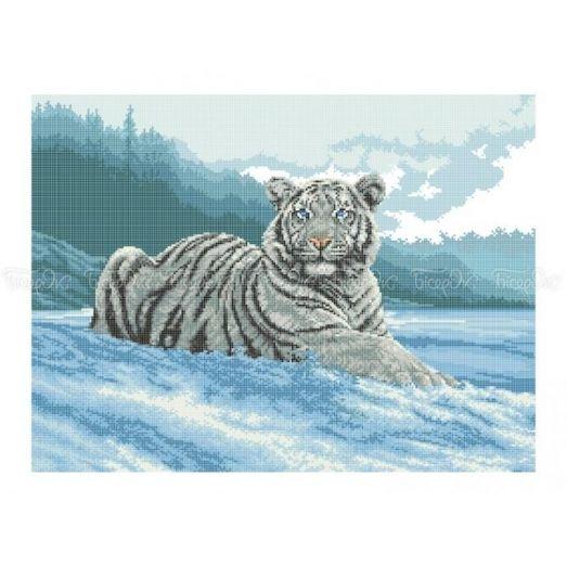 50-211 (40*60) Белый тигр. Схема для вышивки бисером Бисерок
