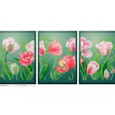 ЧМ-А3-035 Триптих Нежные тюльпаны. Схема для вышивки бисером. Бисерок