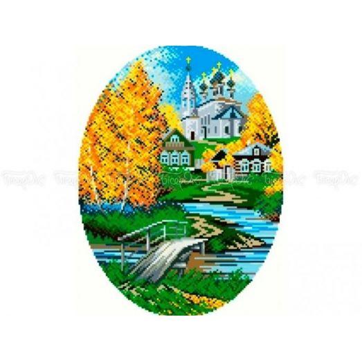 10-304 (30*40) Дорога в церковь. Схема для вышивки бисером Бисерок