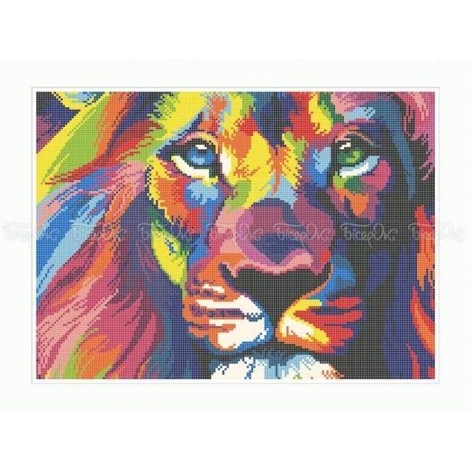 50-342 (30*40) Радужный лев. Схема для вышивки бисером Бисерок