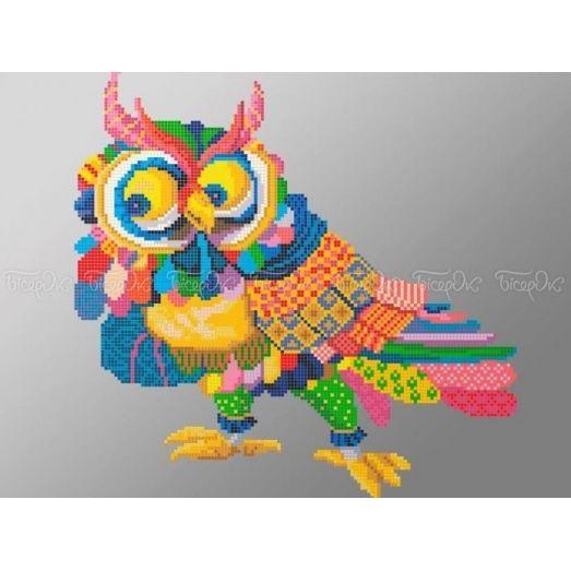 70-319 (30*40) Разноцветная сова. Схема для вышивки бисером Бисерок