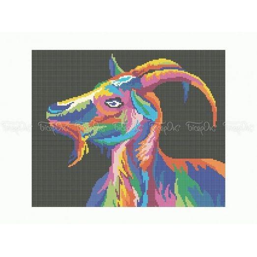 50-350 (30*40) Радужный козел. Схема для вышивки бисером Бисерок