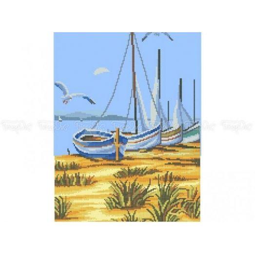 10-365 (30*40) Лодки на берегу. Схема для вышивки бисером Бисерок