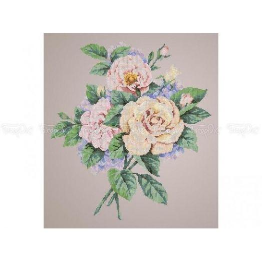 30-212 (40*60) Кремовые розы. Схема для вышивки бисером Бисерок