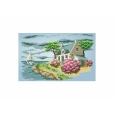 10-395 (30*40) Дом у моря. Схема для вышивки бисером. Бисерок