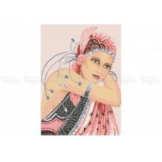 40-307 (30*40) Девушка в розовом. Схема для вышивки бисером Бисерок
