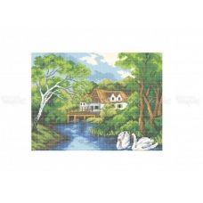 10-308 (30*40) Домик у озера. Схема для вышивки бисером Бисерок