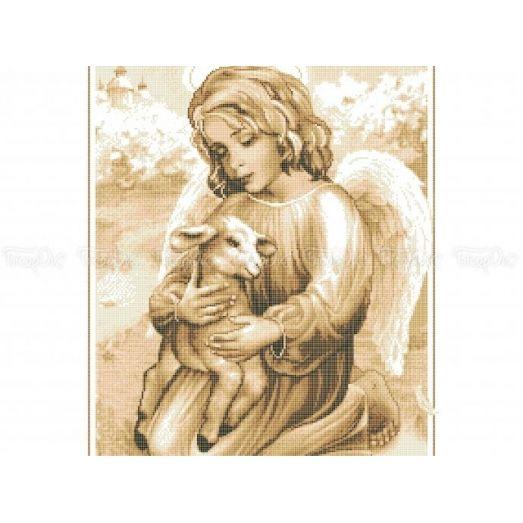 20-207 (40*60) Ангел с ягненком. Схема для вышивки бисером Бисерок