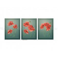 ЧМ-А3-033 Триптих Маки. Схема для вышивки бисером. Бисерок