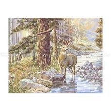 50-208 (40*60) Олень у ручья. Схема для вышивки бисером Бисерок