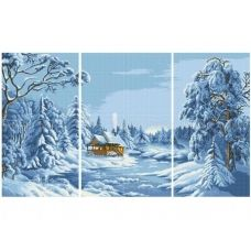 ЧМ-А2-039 Триптих Голубая зима. Схема для вышивки бисером Бисерок