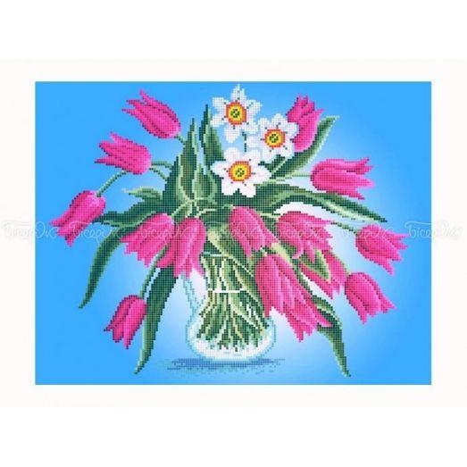 30-352 (30*40) Тюльпаны и нарциссы. Схема для вышивки бисером Бисерок
