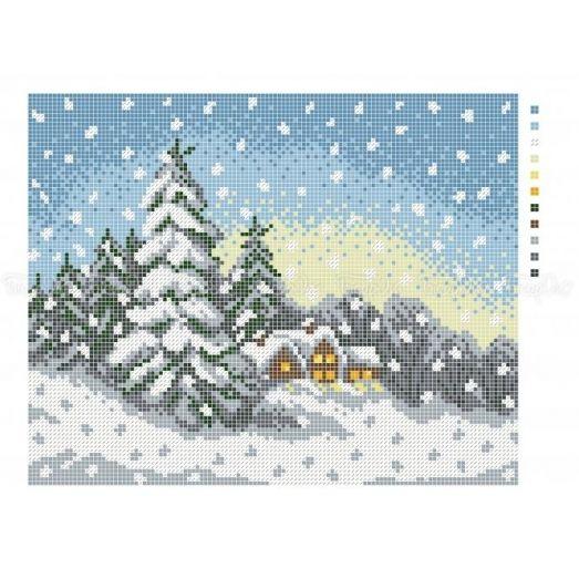 10-403 (20*25) Снегопад. Схема для вышивки бисером Бисерок