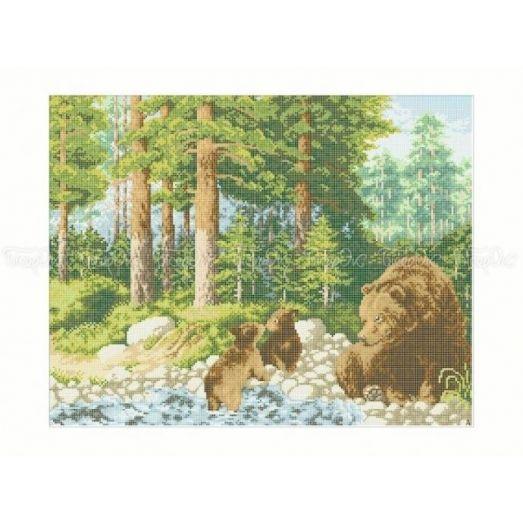50-217 (40*60) Медведи у ручья. Схема для вышивки бисером Бисерок