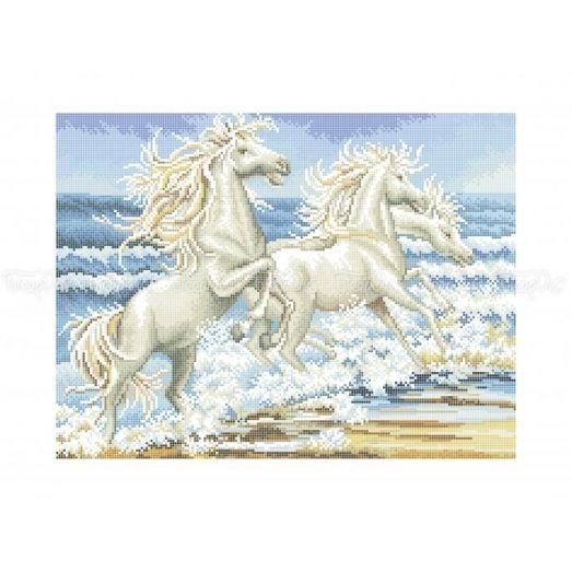 50-335 (30*40) Лошади на берегу. Схема для вышивки бисером Бисерок