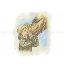 50-337 (30*40) Малыш с лошадью. Схема для вышивки бисером Бисерок