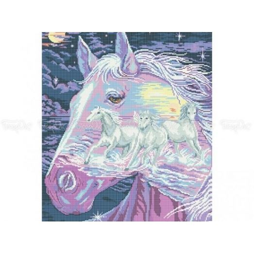 50-207 (40*60) Тройка белых лошадей. Схема для вышивки бисером Бисерок