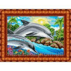 КБ-2003 Дельфины. Схема для вышивки бисером. Каролинка ТМ