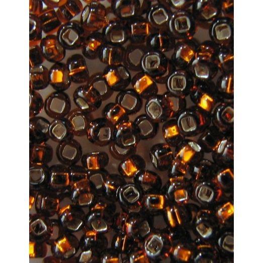 17110 Бисер тёмный коричневый, серебряная серединка