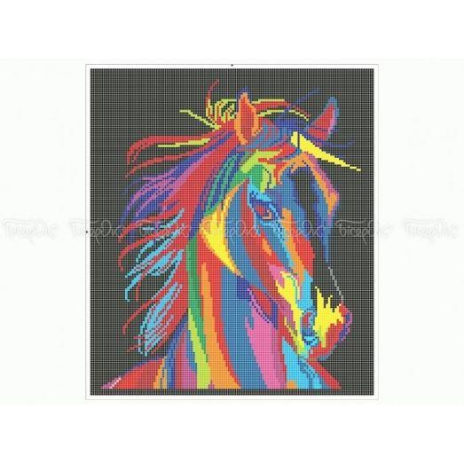 50-345 (30*40) Радужный конь. Схема для вышивки бисером. Бисерок