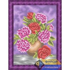 ФР-НБп2-021-2 Пионы в вазе (фиолетовый фон). Схема для вышивки бисером ТМ Фурор