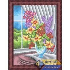 ФР-НБп2-025 Цветы в вазе у окна. Схема для вышивки бисером ТМ Фурор