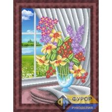 ФР-НБч2-026 Цветы в вазе у окна. Схема для вышивки бисером ТМ Фурор