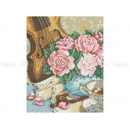 30-302 (30*40) Скрипка и розы. Схема для вышивки бисером Бисерок