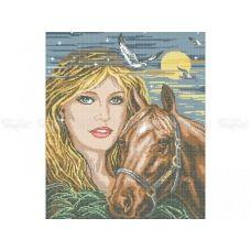 40-201 (40*60) Девушка с лошадью. Схема для вышивки бисером Бисерок