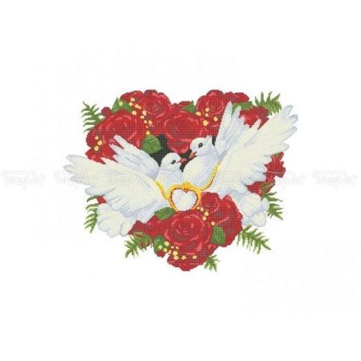 70-202 (40*60) Голуби - символ любви. Схема для вышивки бисером Бисерок