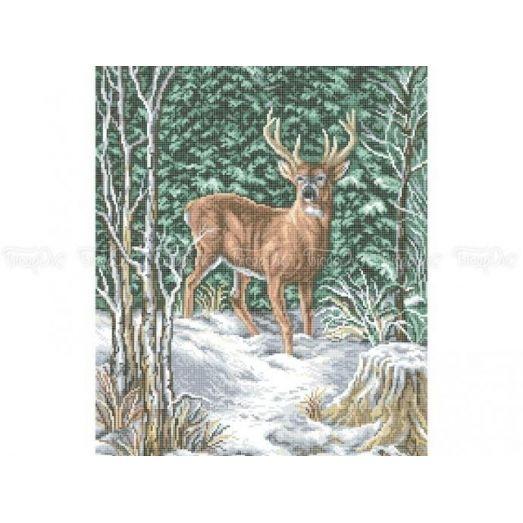 50-201 (40*60) Олень в зимнем лесу. Схема для вышивки бисером Бисерок