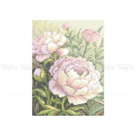 30-404 (20*25) Розовые пионы. Схема для вышивки бисером Бисерок